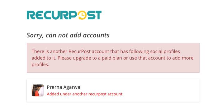 RecurPost Add Account Error