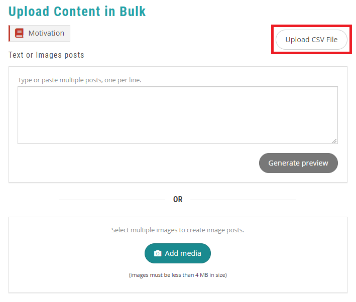 upload CSV file - recurpost - social media scheduler
