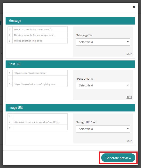 generate preview - recurpost - social media scheduler