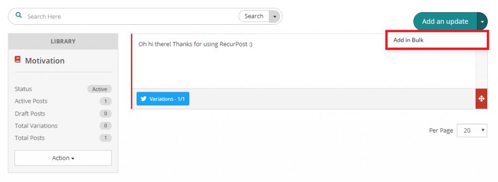 add in bulk for upload - recurpost - social media scheduler