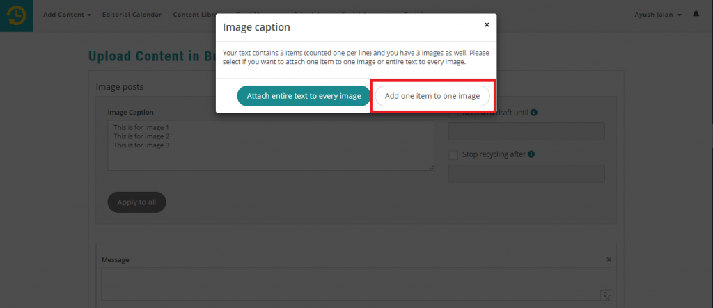 add one item to one image - recurpost - social media scheduler