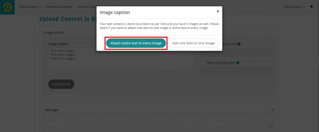 attach entire text to every image -  recurpost - social media scheduler