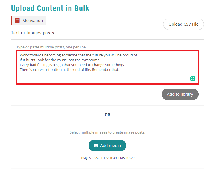 add your content for bulk scheduling - recurpost - social media scheduler