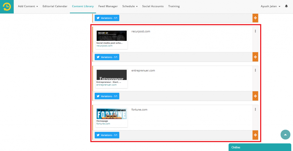 add to library - recurpost - social media scheduler