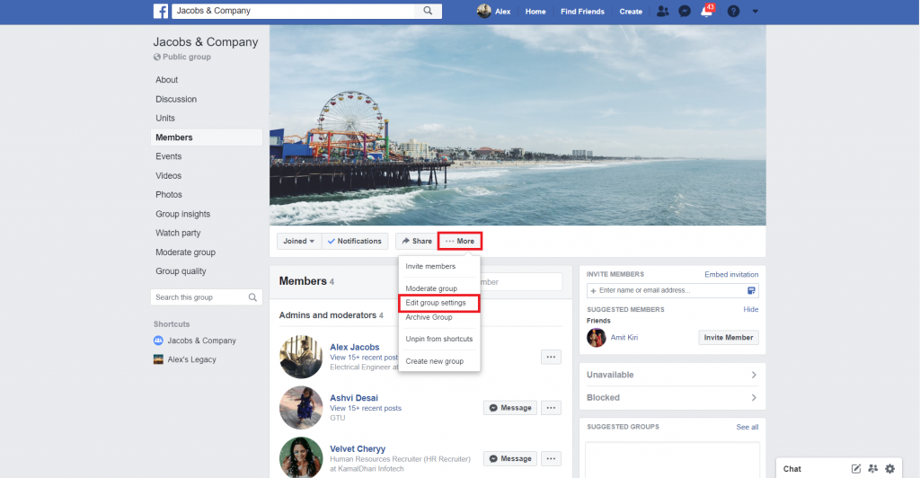 change facebook group settings