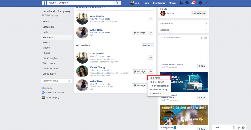 assign new admins to facebook group - recurpost - social media scheduler
