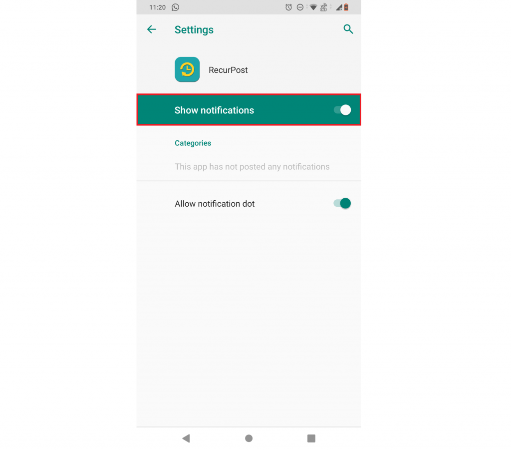 make notifications turned on -recurpost - social media scheduler
