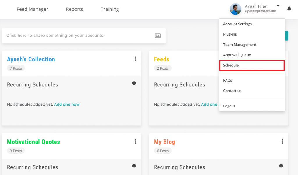schedule updates - recurpost - social media scheduler
