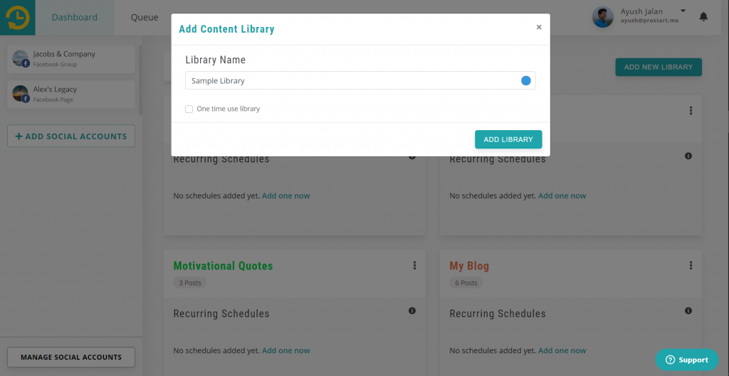 create a new library - recurpost - social media schedule