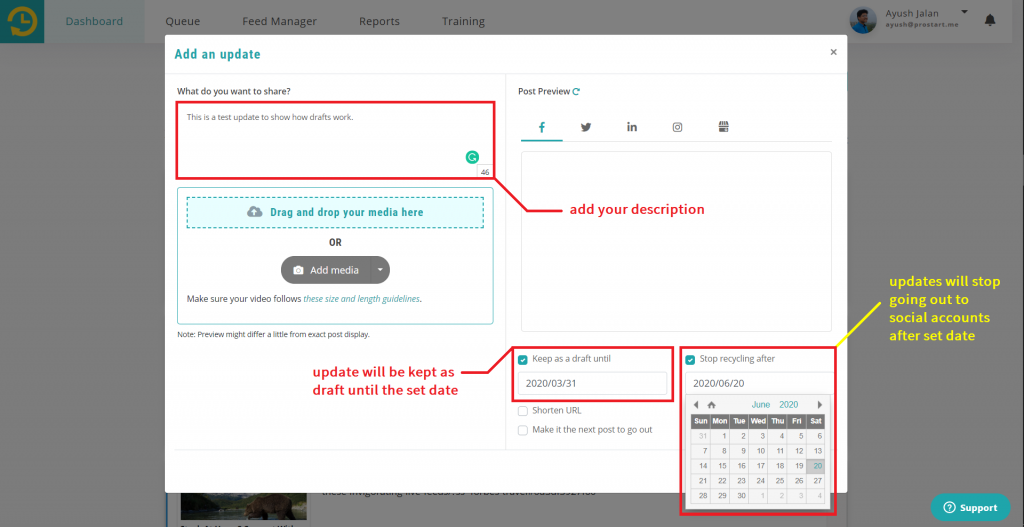 Dashboard > Your Library > Add an update  -  recurpost - social media scheduler
