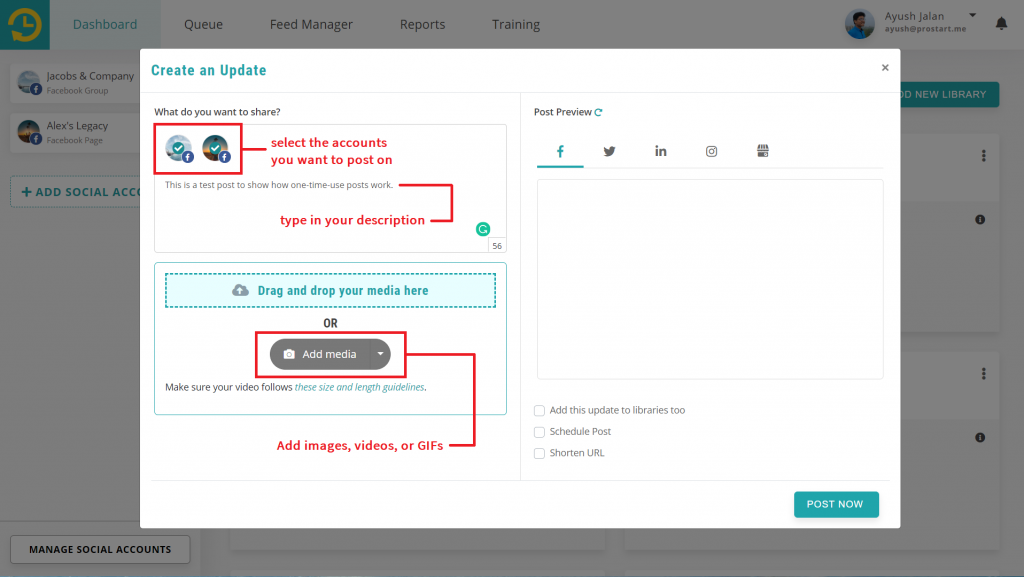 your dashboard with updated content - recurpost - social media scheduler
