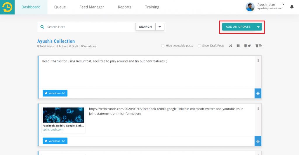 add an update - recurpost - social media scheduler