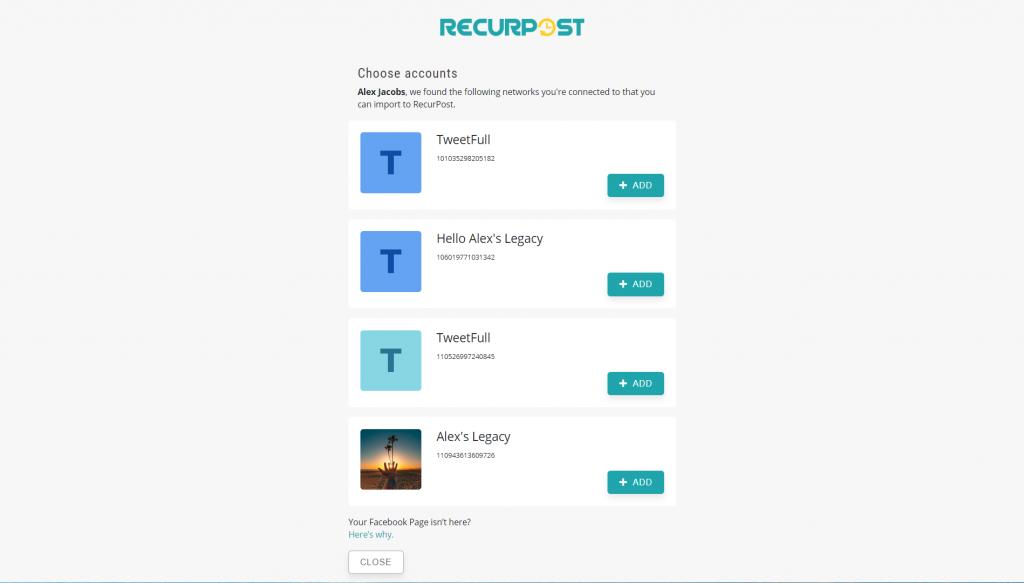 Adding Social Accounts - recurpost - social media scheduler