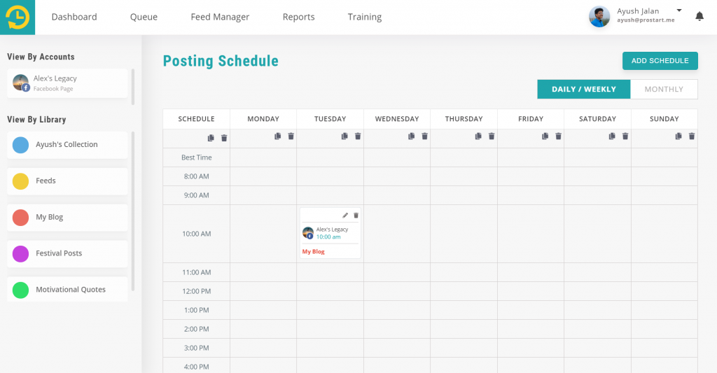 add schedule - recurpost - social media scheduler