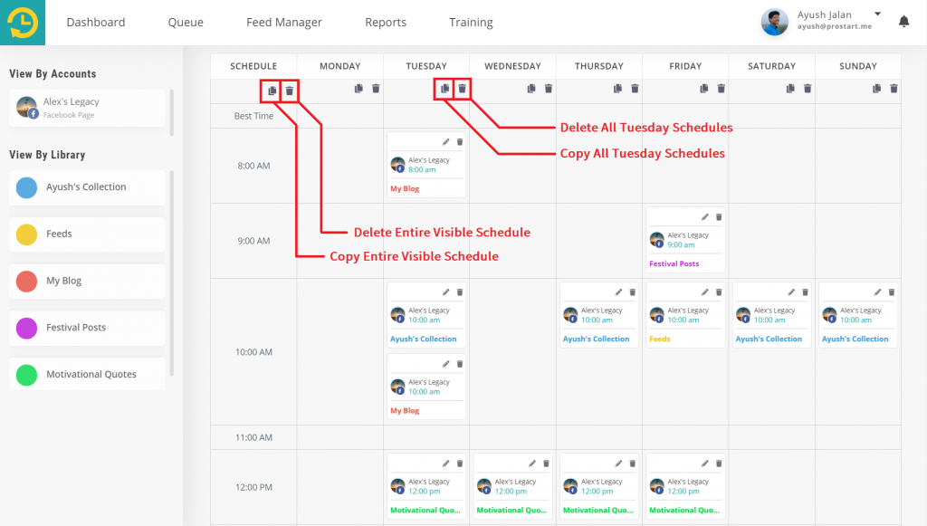 copy and delete schedules in bulk - recurpost - social media scheduler