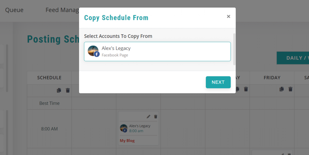 copy schedules - recurpost - social media scheduler
