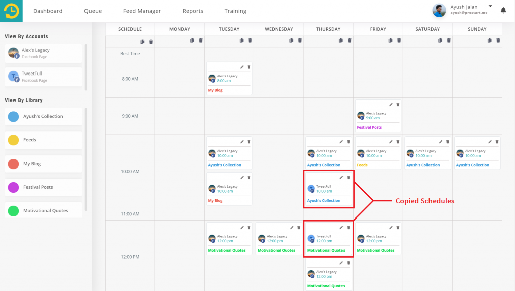copy your schedules - recurpost - social media scheduler