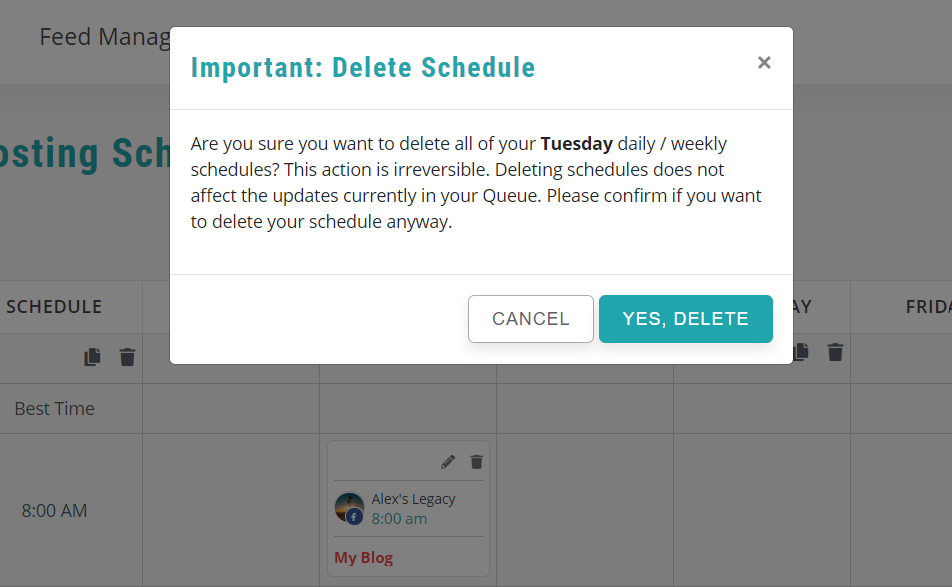 how to delete schedules in bulk - recurpost - social media scheduler