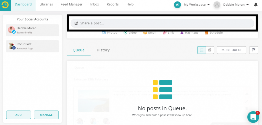 how to use canva within recurpost social media scheduling tool